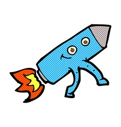 Comic cartoon happy rocket vector