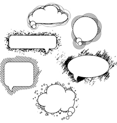 drawn speech bubbles Set vector image