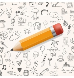 Yelow pencil with group of hand drawn icons vector