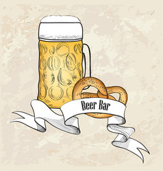 beer ware background in retro style beer mug vector image vector image