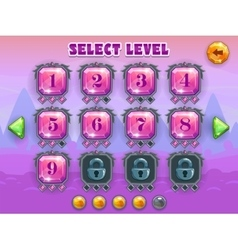 Cartoon level selection game screen vector image