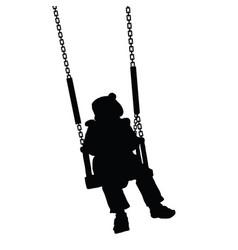 Child swinging black silhouette vector