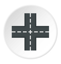 Crossing road icon circle vector