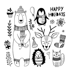 Cute Christmas set with animals vector image