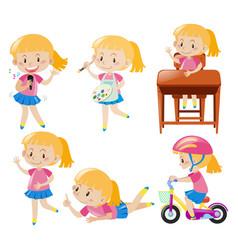 girl doing different activities vector image vector image