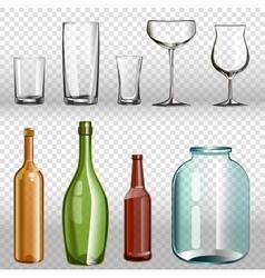 Glass bottles ans realistic transparent 3d set vector image