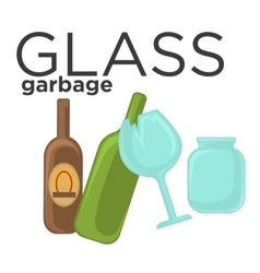 Glass garbage and trash sorting vector image