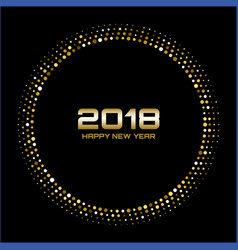 gold happy new year 2018 card frame background vector image vector image