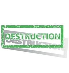 Green outlined destruction stamp vector
