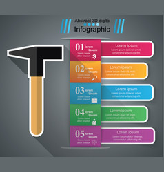 hammer infographics origami style vector image vector image
