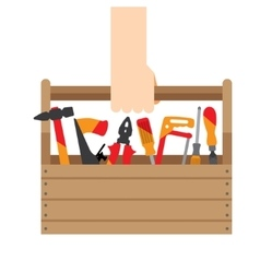 hand box with tools vector image vector image