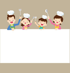 happy family cooking with space frame vector image