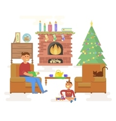 House christmas room interior vector