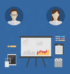 Icons of two people consider the business idea vector