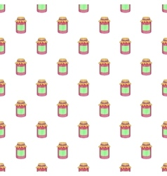 Jam in a glass jar pattern cartoon style vector