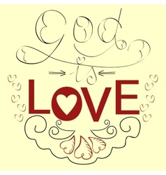 Lettering bible god is love with hearts vector