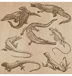 Lizards - An hand drawn pack vector image