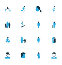 Person colorful icons set collection of group vector