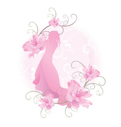 Pink vector girl with flowers vector