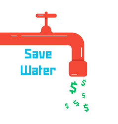 Save water with red faucet vector