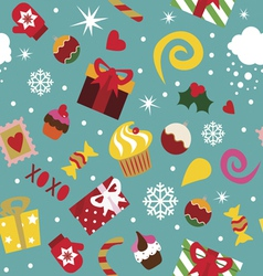 Seamless pattern Christmas elements vector image