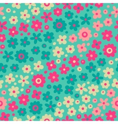 Seamless pattern with cute flowers vector