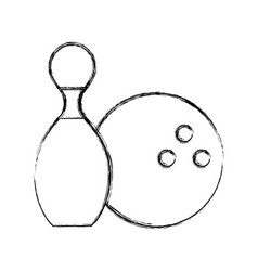 sketch draw pin and ball cartoon vector image vector image