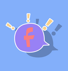 sticker facebook logotype social network icon vector image