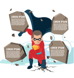 Superhero actions cartoon character template vector