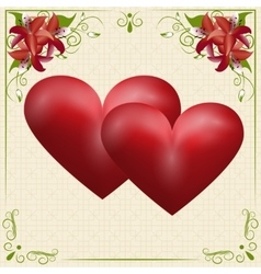 Two red hearts on a card in the box with the vector