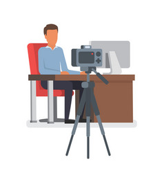 video blogger making stream vlogger vector image vector image