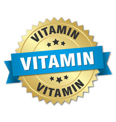 Vitamin round isolated gold badge vector