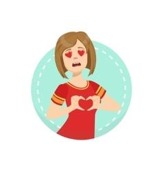 Hearts before eyes emotion body language vector