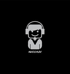 Music disk jockey with headphone logotype vector