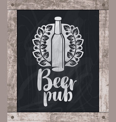 Beer bottle drawing chalk on board in wooden frame vector