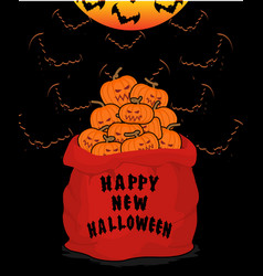 Bag scary pumpkins for halloween full sack of vector