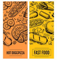 Fast food restaurant menu card template set vector