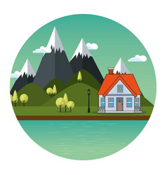 country house icon vector image
