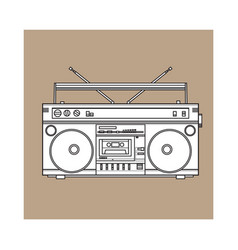 Retro style audio tape recorder ghetto boom box vector