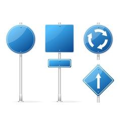 Blank Traffic Sign blue set vector image