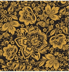 Seamless floral pattern Beige flowers on a gold vector image