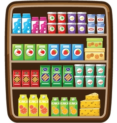Shelfs with food vector
