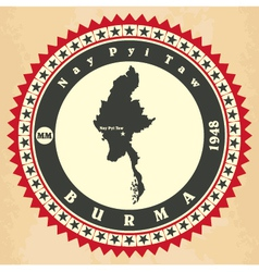 Vintage label-sticker cards of myanmar vector