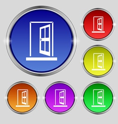 Door enter or exit icon sign round symbol on vector