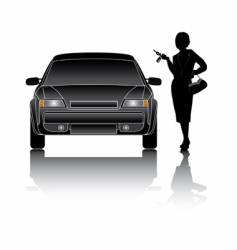 woman and car vector image