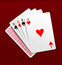 Photorealistic four aces playing cards vector