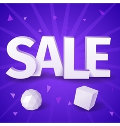 White text sale with sphere and box on blue vector