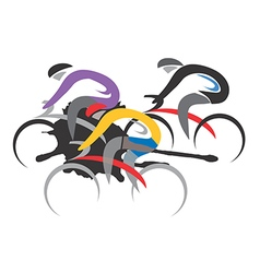 Three cyclist racers vector