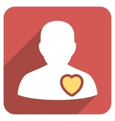 Patient heart flat rounded square icon with long vector