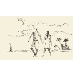 Draw two lovers vacation sea beach sketch vector